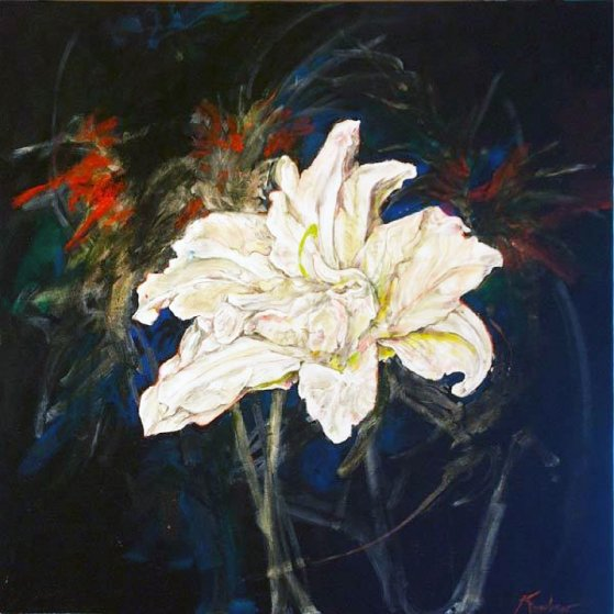 Untitled Lilies 2015 24x24 Original Painting by Joseph Kinnebrew