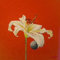 Untitled Flower with Red 2015 24x24 Original Painting by Joseph Kinnebrew - 1