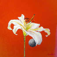 Untitled Flower with Red 2015 24x24 Original Painting by Joseph Kinnebrew - 0