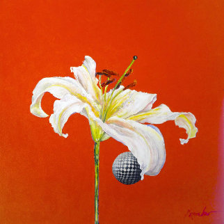 Untitled Flower with Red 2015 24x24 Original Painting - Joseph Kinnebrew