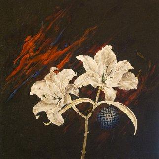 Untitled Flowers 2015 24x24 Original Painting by Joseph Kinnebrew