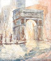 Untitled (Washington Arch) 1950 13x9 NYC Original Painting by Johann  Berthelsen  - 0
