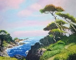 Carmel Coast 1976 19x26 Original Painting - John Alexander