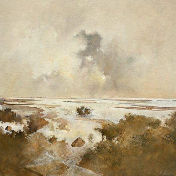 Marsh Scene 1974 46x46 Original Painting by John Alexander