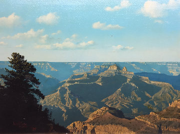 Untitled Grand Canyon  Landscape 1980 20x26 Original Painting - John Cogan