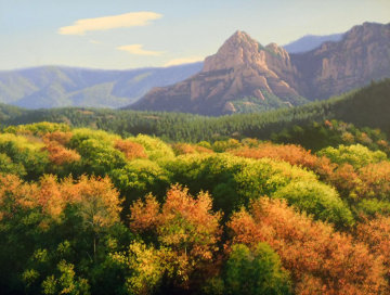 Fall Trees And Mountains 1992 22x26 Original Painting - John Cogan