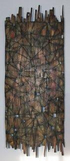 Fragment on reclaimed wood 78x31 Huge Original Painting - Duncan Johnson