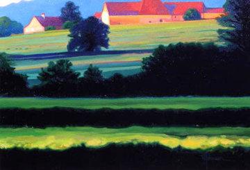 St. Dider Barns, Burgundy 2005 24x29 Original Painting by Roger Hayden Johnson