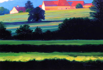 St. Dider Barns, Burgundy 2005 24x29 Original Painting - Roger Hayden Johnson