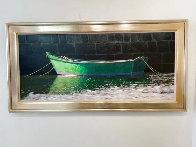 Bateau Vert 34x68 Huge Original Painting by Roger Hayden Johnson - 1