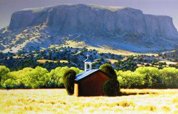 Chapel, Black Mesa 2006 47x69 Original Painting by Roger Hayden Johnson