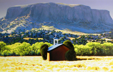 Chapel, Black Mesa 2006 47x69 Original Painting - Roger Hayden Johnson