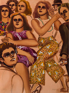 Group Scene Slacks 1979 Limited Edition Print - Lester Johnson