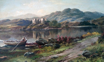 Man in Rowboat Overlooking Castle 1890 12x18 Original Painting - Frank Johnston