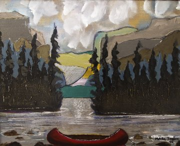Red Canoe And Mountains 2015 22x26 Original Painting - Marc Jordan