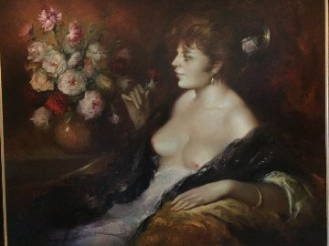 Las Flores 1971 39x46 Original Painting - Jose Puyet