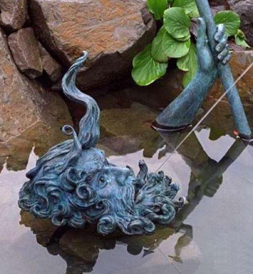 Neptunes Fountain Bronze Sculpture 1990 40 in Sculpture by Jerry Joslin