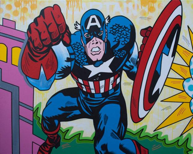 Captain America 2019 48x60 Original Painting by  Jozza