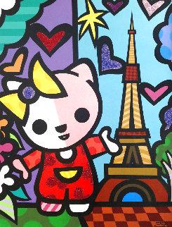 Hello Kitty in Paris 52x40 Original Painting -  Jozza