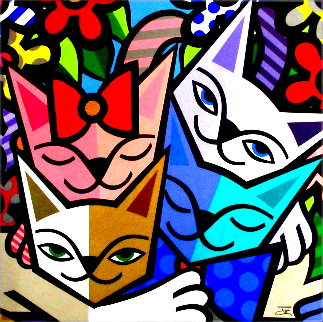 Cats and Flowers 56x56 Original Painting -  Jozza
