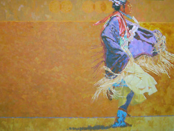Shawl Dancer 1986 48x60 Original Painting - Joseph  Schumacher