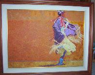 Shawl Dancer 1986 48x60 Super Huge Original Painting by Joseph  Schumacher - 1