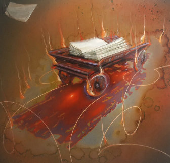 Burning Wagon 2003 46x44 Original Painting - Judith Mason