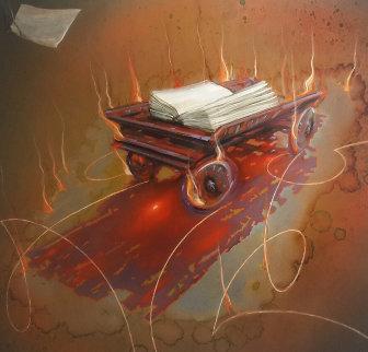 Burning Wagon 2003 46x44 Super Huge Original Painting - Judith Mason