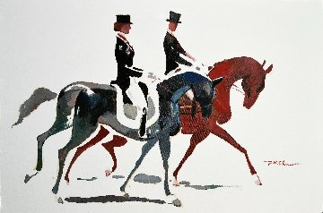 Dressage #4 2014 24x36 Original Painting - Ju Hong Chen