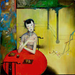 Tea House 2001 40x40 Original Painting - Ju Hong Chen