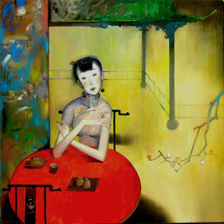 Tea House 2001 40x40 Original Painting - Ju Hong Chen