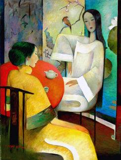 Tea Party 2001 48x36 Super Huge Original Painting - Ju Hong Chen