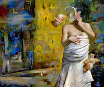 Myth of Reincarnation 40x48 Huge Original Painting - Ju Hong Chen