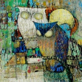 Yellow Moon 26x26 Original Painting by Ju Hong Chen