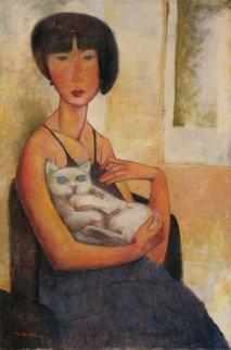 Girl With a Cat 2012 36x24 Original Painting - Ju Hong Chen