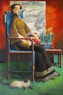 A Vintage Beauty 2009 60x40 Huge Original Painting - Ju Hong Chen