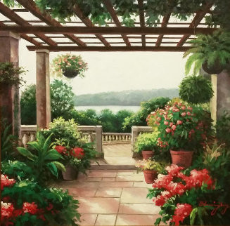 View From the Patio 1996 36x36 Original Painting - Blessing Jung