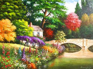 Untitled Landscape 1995 40x50 Huge Original Painting - Blessing Jung