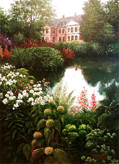 Pink House on Pond 1996 48x38 Super Huge Original Painting - Blessing Jung