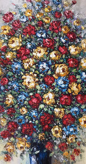 Untitled (Flowers) 2010 59x36 Original Painting by Mario Jung
