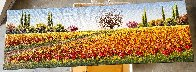 Untitled (Field of Flowers) 2010  12x36 Original Painting by Mario Jung - 1