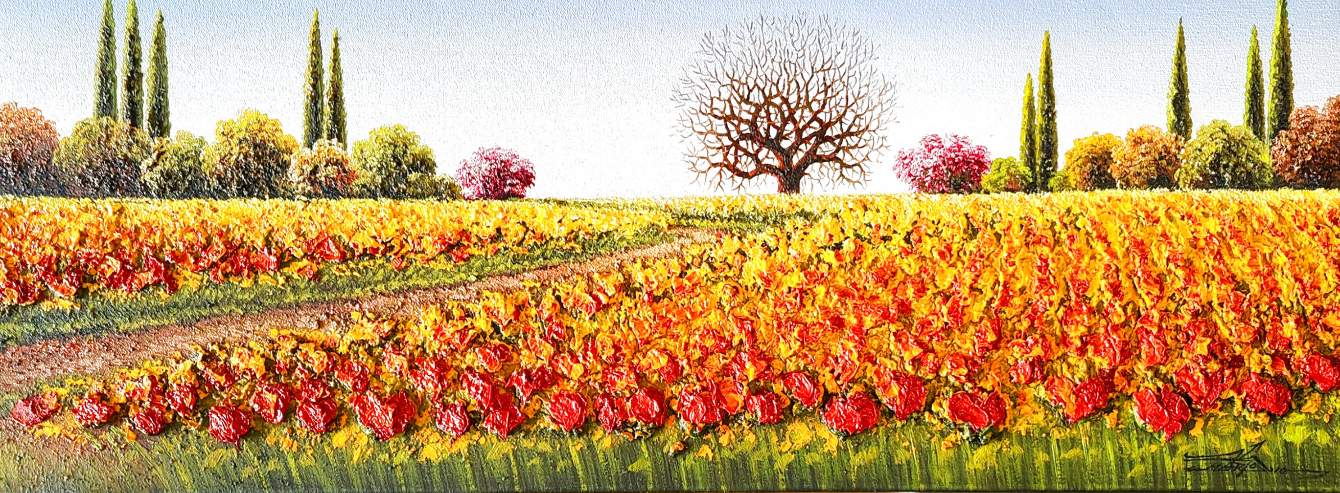Untitled (Field of Flowers) 2010  12x36 Original Painting by Mario Jung