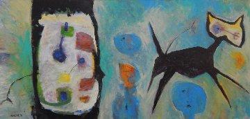 Black Cat 2016 34x72 Original Painting - Peter Juvonen