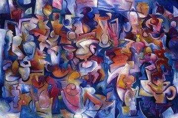 Crossing the Line 1990 48x72 Huge Original Painting - Peter Juvonen