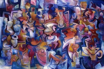Crossing the Line 1990 48x72 Super Huge Original Painting - Peter Juvonen