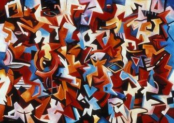 Angel City 1988 36x50 Super Huge Original Painting - Peter Juvonen
