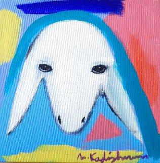 Sheep 2000 12x12 Original Painting - Menashe Kadishman