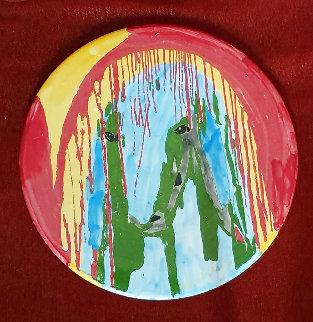Round Color Sheep Unique Ceramic Plate 1990 12x12  Original Painting - Menashe Kadishman