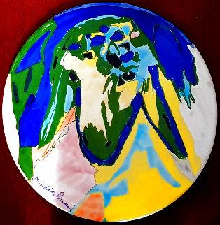Round Color Sheep Ceramic Plate Unique 12 in Original Painting - Menashe Kadishman