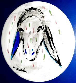 Round Color Sheep Ceramic Plate Unique 1990 12 in Original Painting - Menashe Kadishman